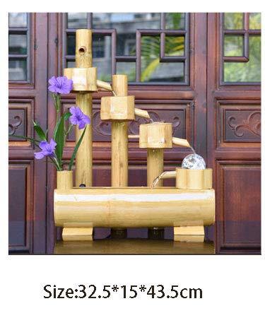 Table fountain-LGRMBBCY 100-240 V Bambus Feng Shui Brunnen Riesenrad Schreibtisch Micro Landschaft Kleines Zuhause Aquarium Glück Heimtextilien Hochzeitsgeschenk,D (Brunnen Schreibtisch)