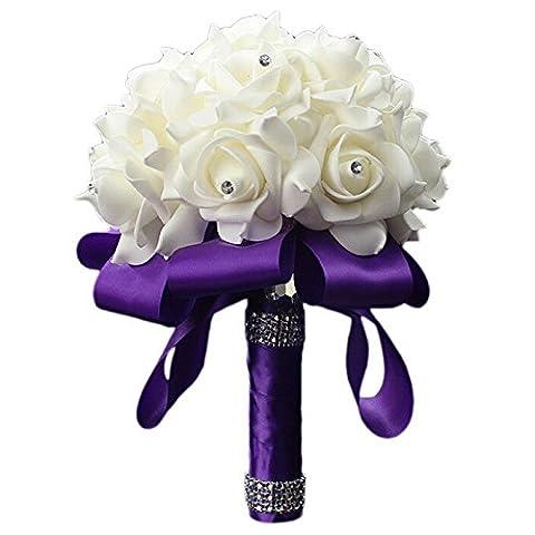Starworld Wedding Flowers, Handmade Bridal Bridesmaid Bouquet Set in Ivory Foam Silk Roses for Wedding, Birthday / Purple