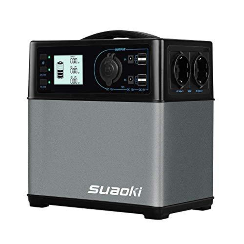 SUAOKI - 400Wh/120,000mAh Generador Portátil Solar, Cargador de Batería Almacenamiento Suministro de Energía (AC salida/coche, 4 USB puertos, AC y...