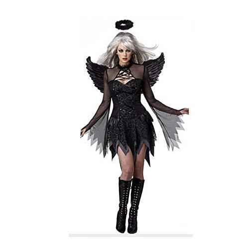 (Hunptail Damen Reizvoll Engel Hexe Schwarz Halloween Kostüm Cosplay (XL))