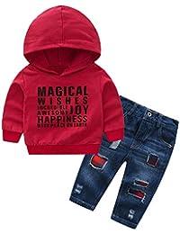 Pottoa Kinder Langarm-Kapuzenoberteile, Infant Baby Jungen Mädchen Brief gedruckt Kapuzen-Sweatshirt Top + Jeans Denim Hosen Outfits Set