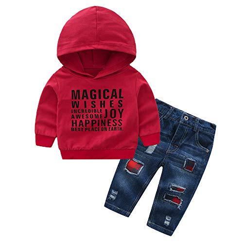 Kword toddler bambini ragazzi manica lunga felpa con cappuccio + pantaloni lunghi jeans strappati pantalone baby pezzi autunno inverno set