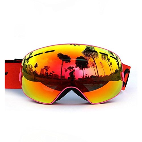 GAGA MILANO Copozz Skiing Goggles Snowboard goggles Double Lens Anti-UV Anti-Fog Skating Goggles For Women And Men, Boys And Girls Pink