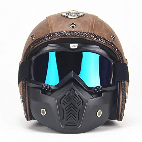 XBECO Casco Moto retrò Quattro Stagioni A Mano Vintage Mezzo Casco con Occhiali Stile Harley + Maschera per Uomo Donna (Marrone),L