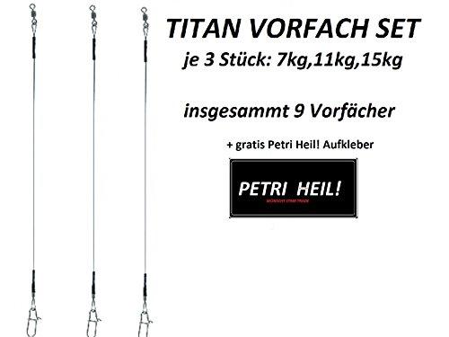 JENZI TITAN VORFACH SET je 3x: 30cm 7kg, 30 cm 11kg, 30cm 15kg +gratis Petri Heil! Aufkleber