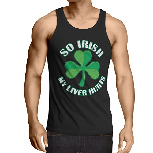 "canottiera da uomo senza maniche ""St. Paddy's Day"" sayings shirts, ""So Irish ..."" (Large Nero Multicolore)"