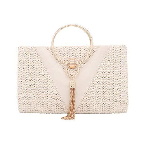 Stylish Summerwhite Tassels Circular Casual Clutch Ring Bag Straw Cross Hand Body Work Woven PXZn80kwON