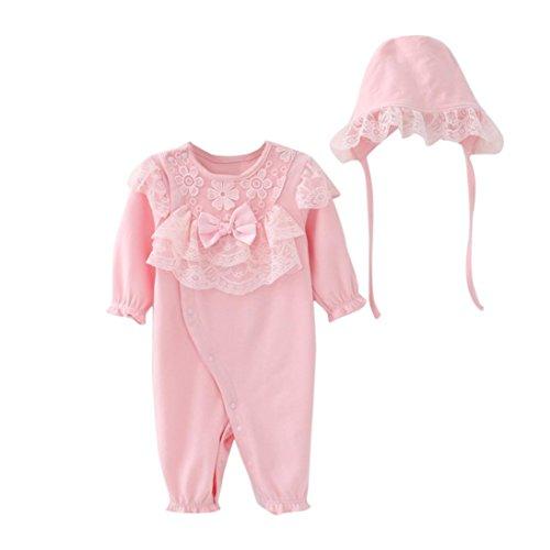Preisvergleich Produktbild Bekleidung Longra Neugeborenes Baby Mädchen Spitze Strampler Bodysuit Playsuit Kleidung Set + Mütze Hüte Baby Langarm Overall Spielanzug Babykleidung (0-18Monate) (50CM 3Monate, Pink)