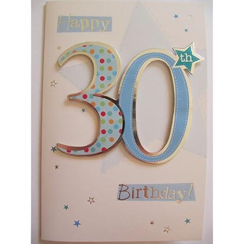 Fantástico colorido Número y estrellas Happy 30th Birthday tarjeta de felicitación