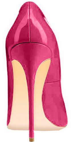 ELEHOT Femme 12cm Taille EU 34-46 Toyque Aiguille 12CM Synthétique Escarpins rouge Peach