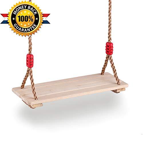 HAPPYPIE Schaukelsitz aus Holz für Kinder 3-10 Jahre Verstellbare Seile Max.180cm - Sitz 4 Stück Laubhölzer