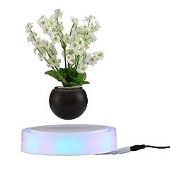 Idea Regalo - Decdeal Levitazione Rotante Magnetico Sospensione Fiore Aria Bonsai Pot Levitante LED Galleggiante Bonsai Pot