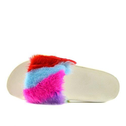 Kick Footwear - DONNA SLIPPER SLIP ON FLAT CURSORE MULI PELLICCIA CIABATTA SANDALI SCARPE Multi Stripe Dispositivo Di Scorrimento