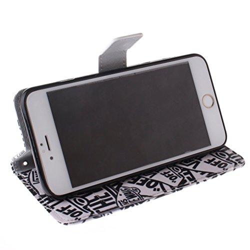 KATUMO Etui Flip Cover Case iPhone 6/6s(4.7 pouces),Coques Cuir iPhone6s Apple Housse Protection Etui Rabat Apple 6s iPhone Coque-#1Fleur Bleu #1Lettre élégant
