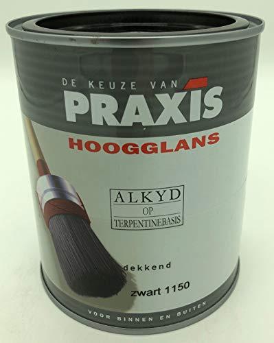 PRAXIS Buntlack Alkydharzbasis Hochglanz für Holz, Metall, Kunststoff, Innen/Außen 1,5L (Schwarz 1150) -
