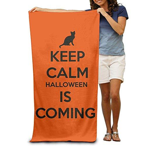 Gebrb Duschtücher/Badetücher,Strandtücher, Keep Calm Halloween is Coming Premium Polyester Camping Bath Sheets Large Towel Beach Blanket Cover Tent Floor Yoga Mat 31.5