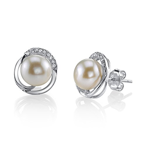 8 mm, con perla d'acqua dolce bianche coltivate & Johnson-Orecchini in cristallo