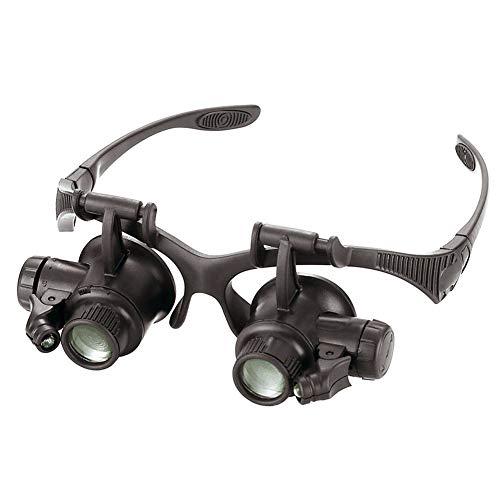 Stirnband Uhr Reparatur Augenglas Juwelierlupe Lupe LED Doppelaugenlupe Brillen Juwelier Uhren Reparatur 10 X 15 X 20 X 25 X, schwarz
