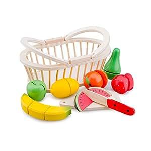 New Classic Toys - 10588 - Jeu D'imitation - Cuisine - Fruits À Découper - Panier En Bois - 9 Pièces