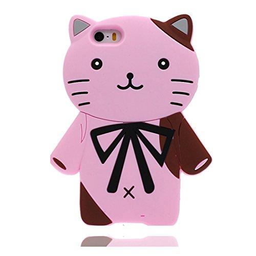 iPhone 5S Copertura,iPhone 5 / SE Custodia,rosa gatto cat del fumetto 3D bella copertura molle della cassa del silicone di TPU della pelle protettiva della pelle Case cover per iPhone 5 / SE/ 5S rosa
