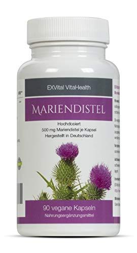 Mariendistel - EXVital VitaHealth - Mariendistel Extrakt mit 80% Silymarin Anteil, hoch konzentriert, 90 vegane Kapseln in Premiumqualiät, kein Magnesiumstearat und 100% vegan, 1er Pack (1x54g)