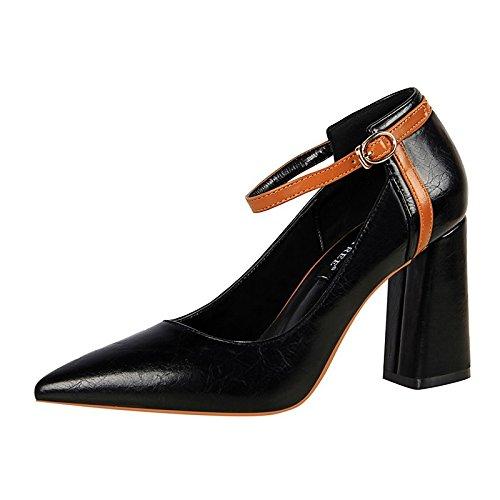 24441f882a05 Dimaol Chaussures Pour Femmes Au Printemps Automne En Similicuir Confort  Talons Chunky Bout Pointu Perle Pour