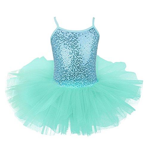 iEFiEL Mädchen Kleid Ballettkleid Kinder Ballett Trikot Ballettanzug mit Tütü Röckchen Pailletten Kleid in Weiß Rosa Türkis (122-128, Türkis) (Ballett Kinder Tutus)