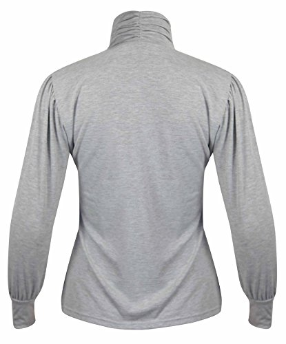Neu Damen Gerafft Langärmelig T-Shirt Oberteile Damen Stretch Hoch Polohemd Übergröße Top Hellgrau