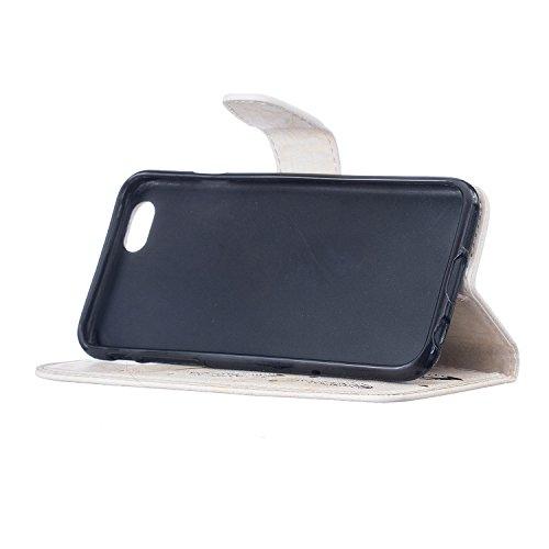 FESELE Coque iPhone 6 Plus / 6S Plus,Campanule Embossé Housse iPhone 6 Plus / 6S Plus,iPhone 6 Plus / 6S Plus Coque à Rabat Magnétique Housse Etui de Protection Ultra Slim Mince Anti Choc Pure Leather Blanc