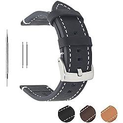 Correa de reloj de piel auténtica extrasuave de Berfine, recambio unisex, color negro, 18 mm, 20 mm, 22 mm, negro, 22 mm