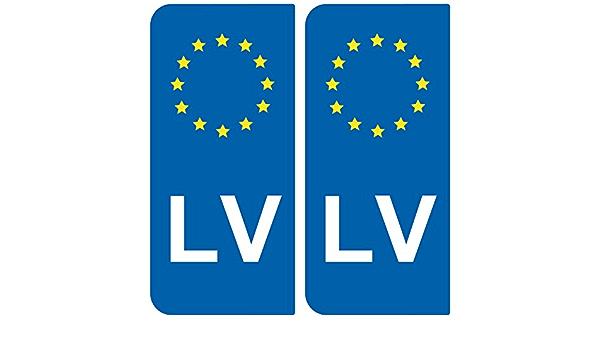 Safimes 2 X Car Registration Plate Stickers Lv Latvia European Identification Auto