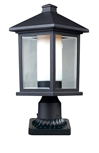 Preisvergleich Produktbild Z-Lite 523PHM-533PM-BK Mesa Outdoor Pier Mount,  Aluminum Frame,  Black Finish and Clear Beveled and Matte Opal Shade of Glass Material by Z-Lite