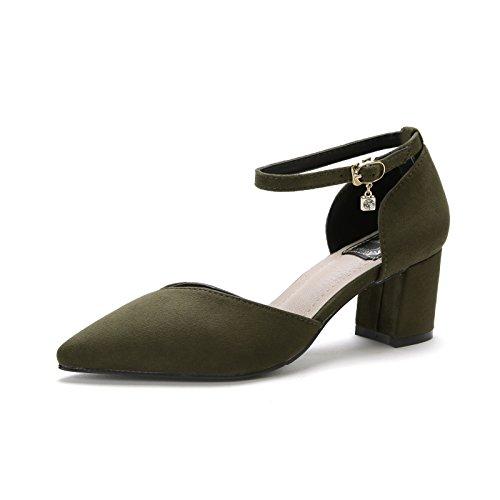 Shoemaker's heart High-Heeled appuntita scarpe nuove parole con Baotou sandali tacco grossolana Forty