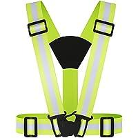 Réglable haute visibilité élastique réfléchissant Gilet de sécurité Harnais & Brassards Combo, Parfait pour Courir, Jogging, vélo, Marcher, Mototourisme, le meilleur équipement de course à pied autour