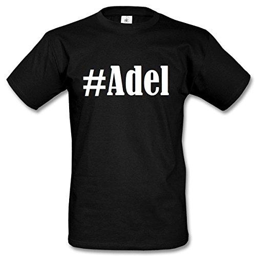T-Shirt #Adel Hashtag Raute für Damen Herren und Kinder ... in den Farben Schwarz und Weiss Schwarz