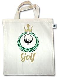Golf - Lorbeerkanz Krone Golf - Unisize - Natural - XT500 - Fairtrade Henkeltasche / Jutebeutel mit kurzen Henkeln aus Bio-Baumwolle