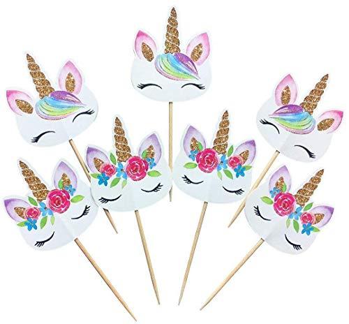 Uteruik Cupcake-Topper mit Regenbogen-Einhorn, doppelseitig, für Geburtstag, Halloween, Weihnachten, Party, Dekoration, 48er-Pack