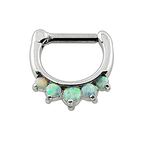Five Synthetic White Opal Stone 316L Surgical Steel 16 Gauge