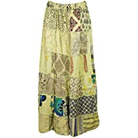 Mogul Interior Women's Long Skirt Yellow Patchwork Bohemian Retro Maxi Skirts S/M