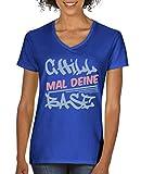Comedy Shirts - Chill mal Deine Base Graffitti - Damen V-Neck T-Shirt - Royalblau/Eisblau-Rosa Gr. XXL
