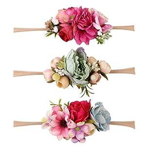 3pcs Blumenkranz Blumen Stirnband Blumenkrone Haarkranz Brautbrautjungfern Haarband für Mädchen Baby