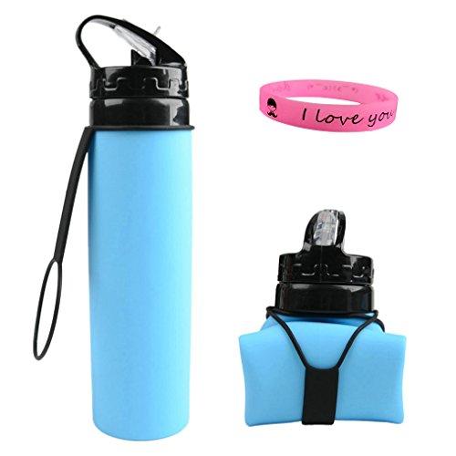 Faltbare Wasserflasche, Zimingu Medizinisches Silikon Wasserflasche - BPA Frei, 600ML/21OZ,FDA Geprüft, Tragbare und Auslaufsichere Sportflasche für Outdoor, Reisen, Radfahren, Wandern, Camping und Picknick (blau)