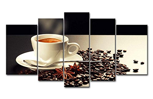 Lebensmittel Anis Öl (5Panel Wand-Art Bild Kaffee Getreide Tasse Weiß Anis Spice Bilder Prints auf Leinwand Lebensmittel die Decor Öl für Home Moderne Dekoration Print)