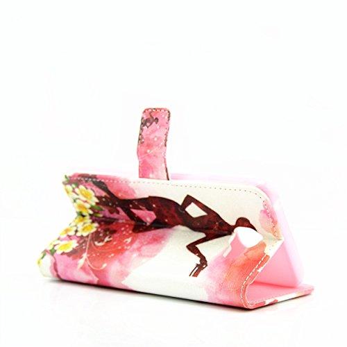 Ecoway Case / Cover / Téléphone / Pouch Elegant 3D incrusté Bling Crystal Glitter Housse en cuir strass diamant PU avec support dans BookStyle poches de carte de crédit de fonction avec intérieur doux carte fille