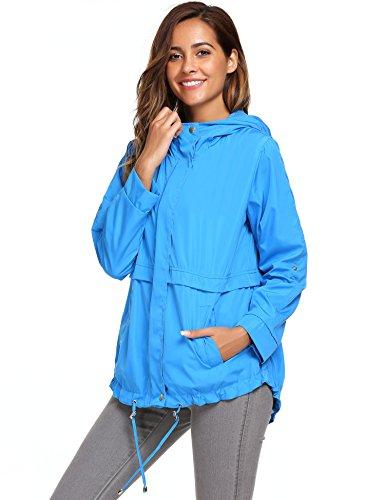 begorey Damen Jacke Übergangsjacke Regenjacke Wasserdichter Winddichter Mantel Outdoor mit Kapuze Frühling Herbst (XL, Blau) (Front-wetter-stiefel)