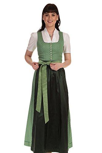 Turi Landhaus Damen Dirndl lang Dirndl Baumwolle festlich D811089 Laurita 9425 95cm grün Gr. 36