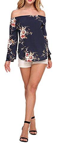Longwu magliette a maniche lunghe della camicia della camicetta stampata floreale della spalla delle donne di modo blu scuro-s