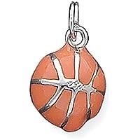 Sterling Silver 3D arancione smaltato Basketball