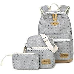 Set de mochilas de tela para el colegio de Humefor, mochila casual + bolso bandolera + estuche,juego de 3 bolsas para niñas y adolescentes, gris