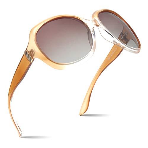 CGID Polarisierte Sonnenbrille für Damen Sonnenbrillen für Frauen Oversized Polaroid-Gläser UV400 Schutz Getönte Brille 100% UV 400 Brille Klassische Metall Ornamente Farbverlauf Champagner PC Rahmen